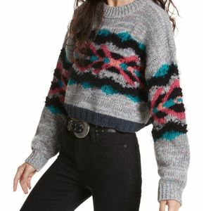 Free People Chunky Knit Cropped Pullover Sweater